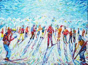 Exhibition of Pete Caswells Ski Paintings of the best ski runs above 3000m in Europe